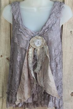 Romantic Ruffled Net Lace French Grey Top With Tattered French Silk by Danita Hinds