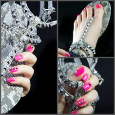 Studded Shoes & Nails - Nail Art inspired by a pair of Kennel & Schmenger sandals. http://www.blingfinger.net/2014/04/studded-shoes-nails.html