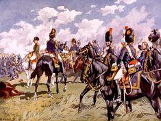 Napoléon à gauche de l'image, avec derrière lui et en train de lui parler un officier à cheval de dos, coiffé d'un bonnet à poils noirs et vêtu d'une veste bleue, avec au centre et à droite des cavaliers habillés de même.