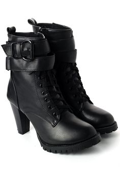 Zip Lace Up Heel Boots in Black - Military Style - Trend and Style - Retro, Indie and Unique Fashion