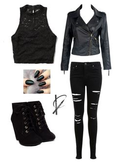"""""""#2"""" by its-blueberrymuffin ❤ liked on Polyvore featuring Abercrombie & Fitch, Miss Selfridge, lace, Dark, leatherjacket, rippedjeans and blackboots"""