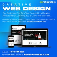 Our Designers Can Turn Your Concept To A Creative Website Which Can Help You To Grow Your Business For FREE 30 minute phone consultation with one of industry's expert to launch your E-Commerce business via e-mail at info@efusionworld.com. Creative Web Design, E Commerce Business, Responsive Web Design, Web Design Services, Website Designs, Growing Your Business, Ecommerce, Designers, Product Launch