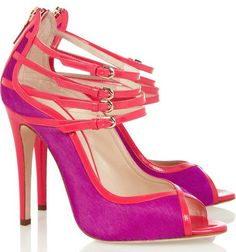 Brian Atwood Stellah patent-leather and calf hair sandals