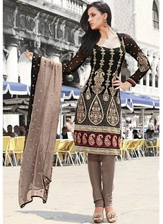 Black and Pale Coffee Brown Shade Churidar Suit - Wedding Churidar Suit