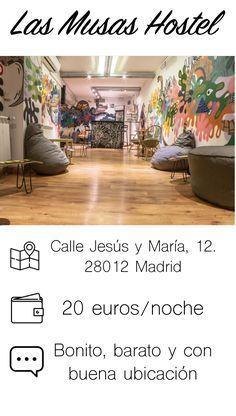 """¿Presupuesto tan ajustado que crees que #Madrid no es una buena opción para tu viaje? ¡Tengo la solución! Hay pocos destinos del mundo que se me resistan, así que no dejes de seguir mis pasos.  Las musas hostel es un hotel con las tres """"b"""": bueno, bonito y barato."""