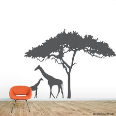 Giraffe Safari Wall Decal - Zoo Wall Decal, African Decal, Nature Wall Decal, Giraffe Wall Art, Giraffe Silhouette, Safari Nursery Decor