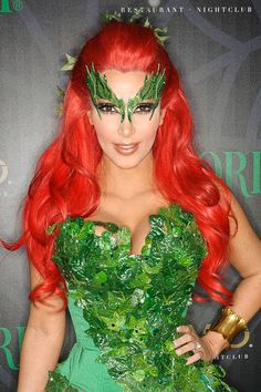 Flashback to Halloween 2011 when Kim Kardashian transformed into Poison Ivy for the night! Halloween parties always bring out the best celebrities, not to mention the best celebrity costumes. To help you prep for the holiday, we're serving up some Kim Kardashian Halloween Costume, Halloween Party Kostüm, Halloween Costumes Pictures, Best Celebrity Halloween Costumes, Creepy Costumes, Halloween Queen, Poison Ivy Costumes, Poison Ivy Kostüm, Fantasias Halloween
