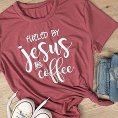 Women Summer Basic Red Tee By Jesus And Coffee Printed Short Sleeve T Shirt Casual O-Neck Tees Girl Letter Fueled Top Vinyl Shirts, Mom Shirts, Cute Shirts, T Shirts For Women, Cute Sayings For Shirts, Funny Shirts, Christian Clothing, Christian Shirts, Christian Pics