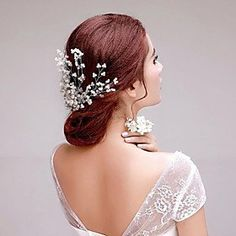 FLOW ZIG Korean style Imitation Pearls Wedding/Party Headbands with Crystal -- Check out the image by visiting the link. #JewelryForWomen