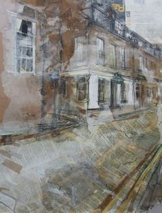 Oxford Bar, Young Street, Edinburgh Collage ('Tooth and Nail') with Acrylic and Wax, 2014 56 x Building Drawing, Building Art, A Level Art, Landscape Paintings, Landscapes, Urban Art, Mixed Media Art, Architecture Art, Home Art