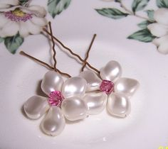 2 Pearl Blossom Hairpins with Swarovski Pearls and by Saralibbey, $16.00