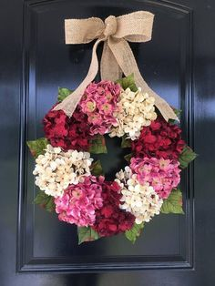 Valentines Day Wreath - Summer Wreath - Hydrangea Wreath- Spring Wreath - Front Porch Decorating Ideas - Front Door Wreath - Perfect for All Year Long! Spring Wreaths For Front Door Diy, Diy Spring Wreath, How To Make Wreaths, Holiday Door Wreaths, Christmas Door, Spring Crafts, Holiday Decor, Valentine Day Wreaths, Valentines Day Decorations