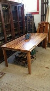 Stunning farm house style table made with Sweet Gum. Measures 78X40 Made to order.