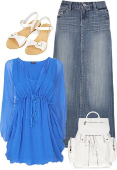"""Jean Skirt"" by hippiewiccan on Polyvore"