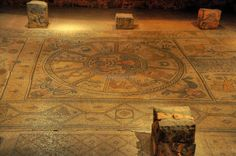 Beit Alpha: Another view of the zodiac in the center of the floor.