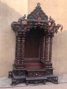 Shop from wide range of Wooden Mandirs for Home from the Wooden Pooja Mandir Shops in Bangalore. Temple Design For Home, Home Temple, Durga Ji, Wooden Main Door Design, Pooja Mandir, Pooja Room Door Design, Temple India, Decoration For Ganpati, Stage Set Design