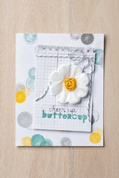 """Fun card! Uses: Geometrical Stamp Set – Clear #133161 Designer Series Paper Stack – Moonlight #133701 3/8"""" Satin Stitched Ribbon – Hello Honey #133671 Baker's Twine – Basic Gray #134587"""
