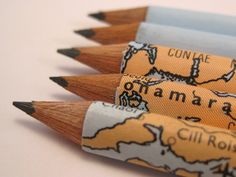 ⇚ Map Quest ⇛ maps & globes in history, art, craft & decor - Map pencils