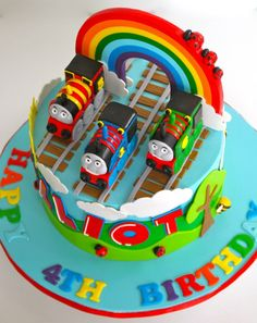 Celebrate with Cake!: Rainbow Thomas the Tank Engine Cake - Rainbow Thomas Birthday Cakes, Toddler Birthday Cakes, Thomas Cakes, 4th Birthday Cakes, Thomas Tank Engine Cake, Thomas The Tank Cake, Thomas And Friends Cake, Gateaux Cake, Character Cakes