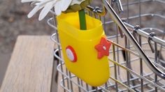 Whimsical Yellow Bicycle Vase by TrulySkrumptious on Etsy, $8.00