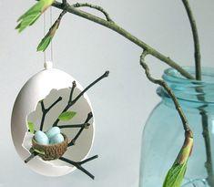 Spring ornament/bird nest/eggshell by season2season on Etsy, $17.00