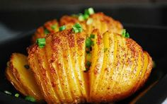 * * * * Hasselback Potatoes - Tasty, but sort of a pain to do all the cutting. Vegetable Slice, Vegetable Dishes, Potato Dishes, Potato Recipes, Hasselback Potatoes, Sliced Potatoes, Baked Potatoes, Food Reviews, Greek Recipes