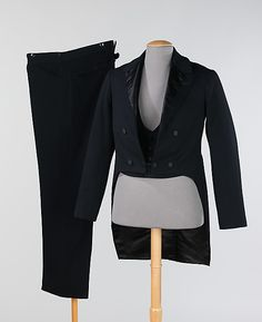 1888 Evening Suit  This style of jacket, originally called the dress coat, was adopted in the late 18th century and was popular for every day and formal dress. It was relegated strictly to evening wear by the middle of the century and has adapted for formal occasions since then. This particular ensemble indicates the professional tailoring expected in the late 19th century.