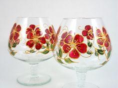 Items similar to Brandy Snifters Hand Painted Wine Glasses Burgundy Red Gold Flowers Set of 2 on Etsy Decorated Wine Glasses, Hand Painted Wine Glasses, Bottle Art, Bottle Crafts, Burgundy And Gold, Red Gold, Glass Painting Designs, Lighted Wine Bottles, Vintage Cups