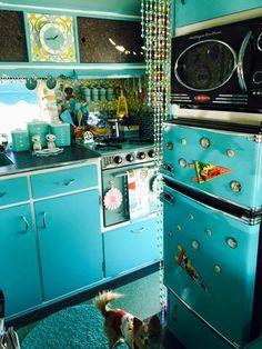 Vintage camper, turquoise interior