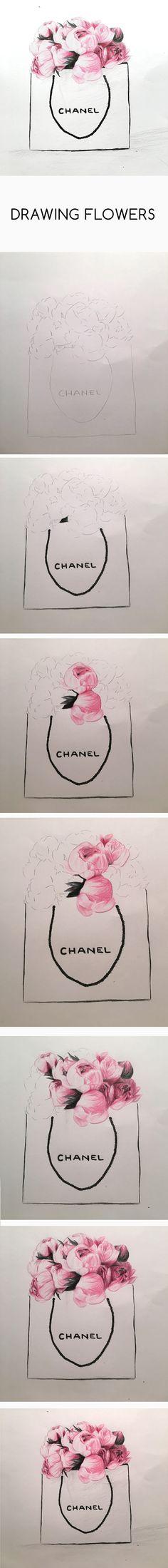 Drawing Flowers peonies pink chanel bag tutorial step by step