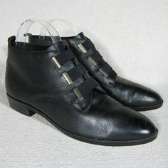 af11a32c833 sz 7N Life Stride vintage 90s black leather granny ankle Low Heel Ankle  Boots