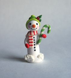 Miniature Handmade Green Candy Cane Snowman by C. Rohal