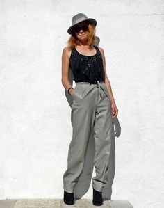 Vintage Grey Leather Pants High Waist Leather by tomacrafts