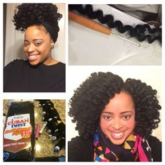 Crochet Braids with Cuban twist hair. Pre-curl the hair with white or pink rods, then install the hair. I used 4 packs. I also tie to up in a pineapple to sleep. See video - http://youtu.be/LhQXRMwTobA