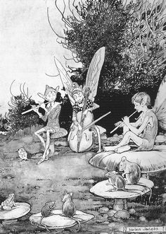 """Helen Jacobs (1888-1970), """"The fairy musicians serenade the frog and mice"""""""