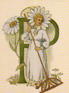 Ottilia Adelborg - Alphabet P Alphabet Design, Alphabet Print, Vintage Book Art, Illumination Art, Love Illustration, Nature Journal, Illuminated Letters, Alphabet And Numbers, Typography Letters