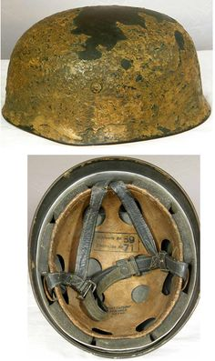 Luftwaffe M38 Fallschirmjager helmet with tropical tan (Afrika) and zimmeritt finish. This helmet features zimmeritt the same coating applied to armored vehicles.