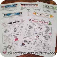 Differentiated Instruction with Think-Tac-Toe. A great addition to literature activities!