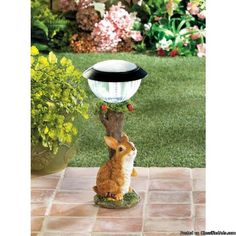 Item 1001785 Rabbit Solar Garden Path LightThere is no Cuter way to light up your outdoor space then with this Adorable Bunny a Brownrabbit sits beneath an apple tree and on top is a solar powerd lantern that will light upat night with help from the sun rays during the dayPolyresin Plastic Solar PanelWeight 1.6 PoundsDimensions 6.75 x 6.75 x 13.8This Item Can Retail For 29.95 Your Cost with Moores Discount Merchandise 24.95With Free ShippingArrival Time 3-7 Days With UPS Ground…