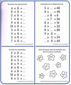 Cuaderno tablas de multiplicar (16) Multiplication Sheets, Multiplication Facts Worksheets, Mental Maths Worksheets, Math Sheets, Fractions, 4th Grade Math, Math Class, Math 2, Tools For Teaching