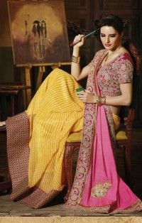 Bewitching Mustard & Pink Georgette Embroidery Work