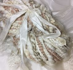 Hand spun shabby chic vintage lace yarn by Pinki punki