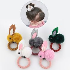 Cute animal hair ball rabbit hair ring female rubber band elastic hair bands Korean headwear children hair Accessories ornaments description Item type:Cartoon rabbit hair band Material: Nylon, polyester, rubber Color: As shown Condition: brand new or Diy Broderie, Baby Hair Accessories, Pom Pom Crafts, Hair Rings, Diy Couture, Diy Hair Bows, Elastic Hair Bands, Baby Kind, Rubber Bands