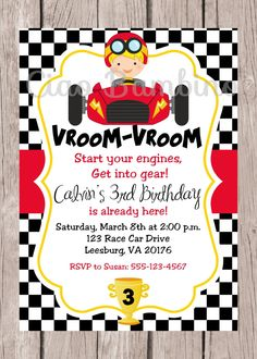 Personalized Printable / Race Car Birthday Party by ciaobambino, $12.00