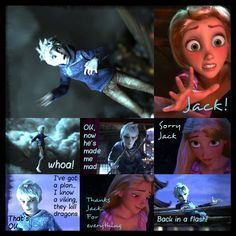 The Adventures of the Big Four: Page 3  by 1JoyDreamer.deviantart.com on @deviantART Jack has been blasted from the sky by the dragon guarding Rapunzel's tower. Jack is not about to give up. He rembers Hiccup (In this story Jack and hiccup already know each other) and that his town is know for killing dragons. So now he's going to go find Hiccup.