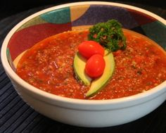 "Gazpacho    12 Roma tomatoes  2 lg cucumbers, seeded  1 bell pepper  1/3 c red wine vinegar  1/3 c olive oil  2 T minced garlic  2 T lime juice  1 lg red onion  4 stalks celery  1 c fresh parsley  4 c tomato juice    Chop to desired ""chunkiness"" in food processor. Makes 1 gallon, so you may have to run half the recipe through the food processor at a time, depending on the size of your mixing container.  May reduce recipe, but it keeps well in the refrigerator for days. Eat cold. Fresh Tomato Recipes, Veggie Recipes, Vegetarian Recipes, Reduce Recipe, Tomato Juice, Roma Tomatoes, Gazpacho, Bell Pepper, Chowders"