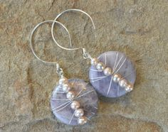 Amethyst and Pale Pink Freshwater Pearl Disc, Sterling Silver Earrings - Handcrafted Earring Hoop Hooks - by Adrienne Adelle
