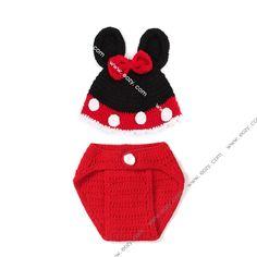 Baby Unisex Lovely Velvet Crochet Beanie Photography Mouse Hat Set