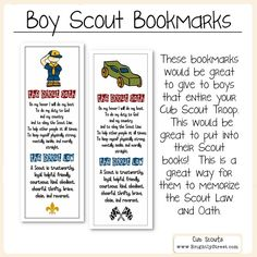 Cub Scouts Law and Oath Bookmarks by BrightlyStreet on Etsy