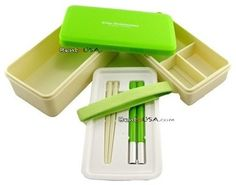 Japanese Bento Box 3-Tier Lunch Box With Strap and Chop, Green contemporary food containers and storage